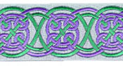 Celtic Landscape design, green and purple colors