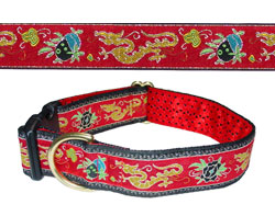 Chinese Dragons design and dog collar, red color