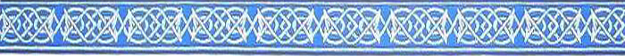 Saxon Knot design dog collar, blue and silver colors