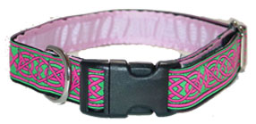 Saxon Knot design dog collar, green and pink colors