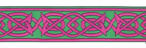 Saxon Knot design, green and pink colors